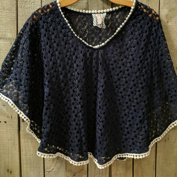 Anthropologie Tops Vintage Maeve Navy Lace Poncho Top Poshmark